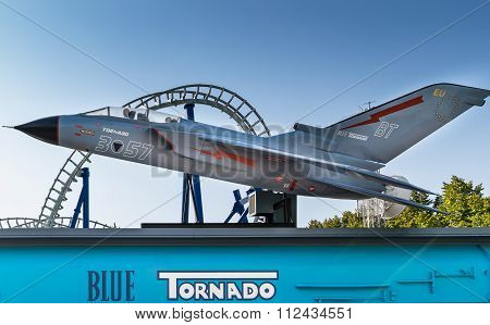 Blue Tornado In Gardaland Amusement Park.