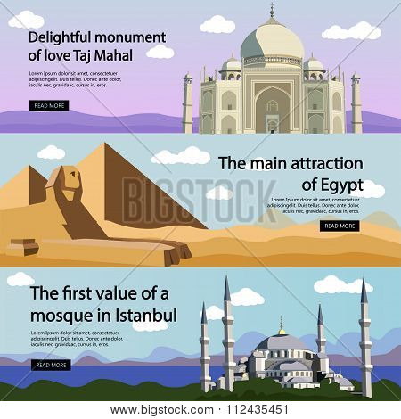 Travel banner vector set. International culture, tourist attractions and landmarks. Turkey Mosque, E