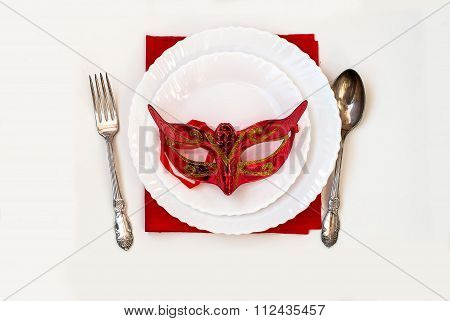 Christmas Plate And Silverware With Red Mask