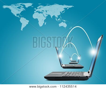 Laptops with world map