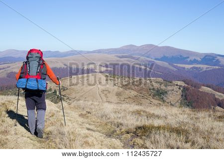 Hiking in Caucasus mountains.