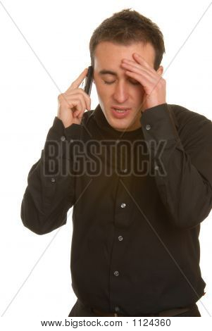 Attractive Businessman With Mobile Phone, Thinking Face