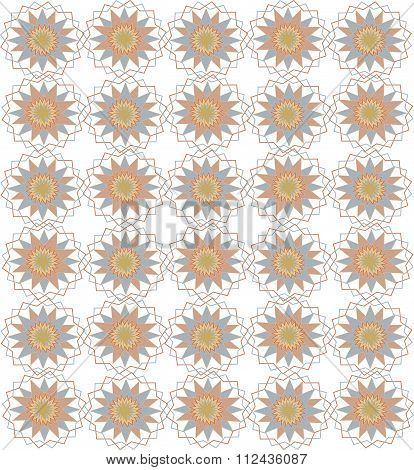 Seamless symmetric on a white background. Circles, triangles, rhombuses, cold pastel colors, pink, b