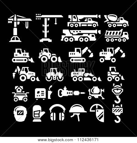 Set Icons Of Construction Equipment