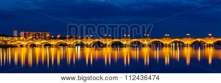 Night View Of Pont De Pierre In Bordeaux - Aquitaine, France