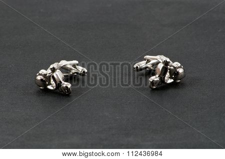 Motorbike Cufflinks Over Black Facing
