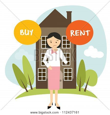 buy or rent house home apartment woman decide vector illustration buying renting