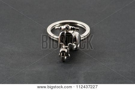 Motorbike Keychain Over Black
