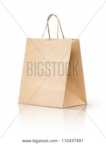 paper kraft shopping bag isolated on white background
