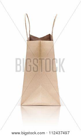 paper kraft shopping bag isolated on white background