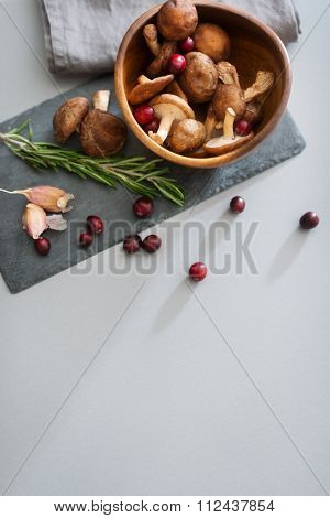 Seen From Above, Fall Fruits And Mushrooms