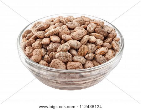 Pinto Beans In A Glass Bowl