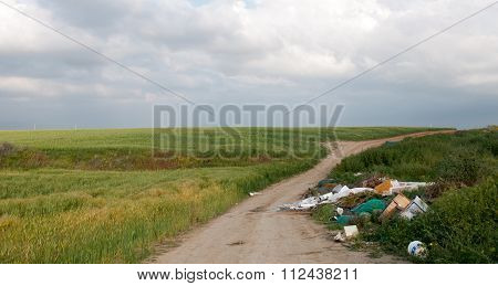 Beautiful Green Field In Spring Full Of Garbage