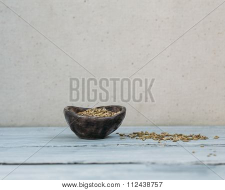 Fennel In A Clay Bowl.