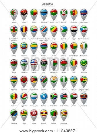 Map marker set with state flags of sovereign countries of Africa with captions in alphabet order isolated on white background