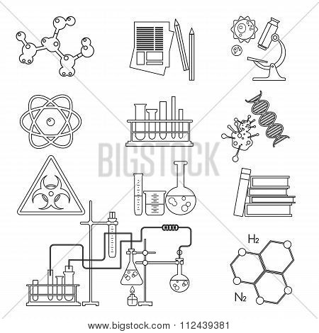 Chemical laboratory science and technology thin line icons set isolated. Workplace tools