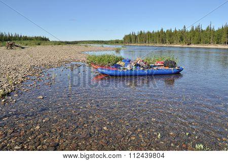 Catamaran For Rafting On The Taiga River.