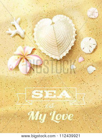 Sunny Dunes With Heart Shaped Seashell