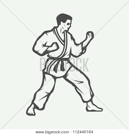 Vintage Karate Or Martial Arts Logo, Emblem, Badge, Label And Design Elements. Vector Illustration