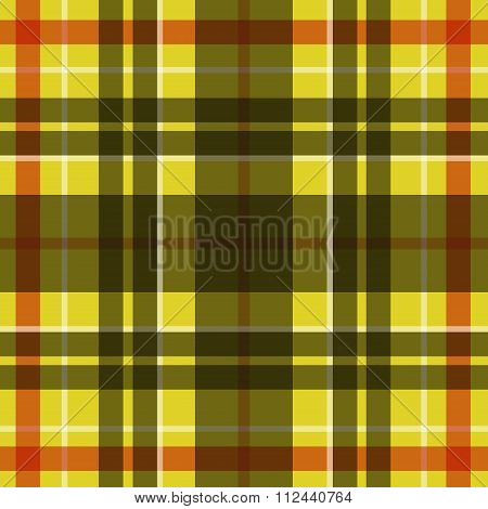 Vector seamless scottish tartan pattern in yellow black white and red