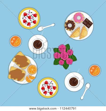 Vector flat romantic breakfast for two persons. Set of bakery products croissants donuts chocolate o