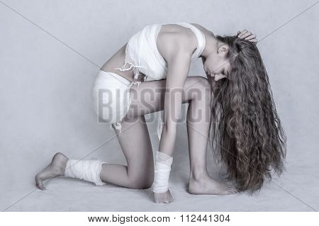 Woman With A Bandage Dressings