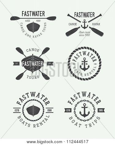 Set Of Vintage Rafting Logo, Labels And Badges. Vector Illustration