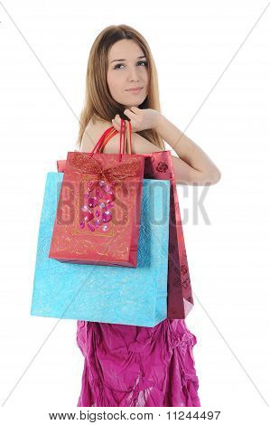 brunette with a shopping bag.