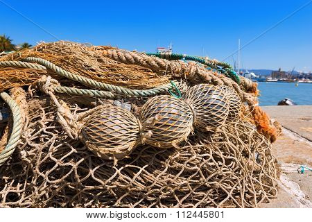Fishing Nets With Ropes And Floats
