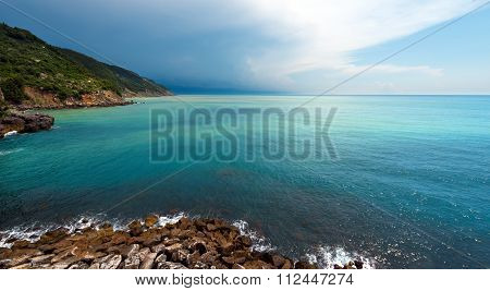 Mediterranean Sea In Liguria Italy