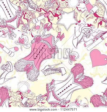 Seamless pattern with corset underwear and fashion accessories