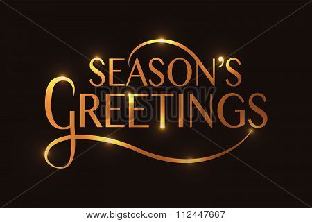 Season's Greetings Typography For Christmas/new Year Greeting Card