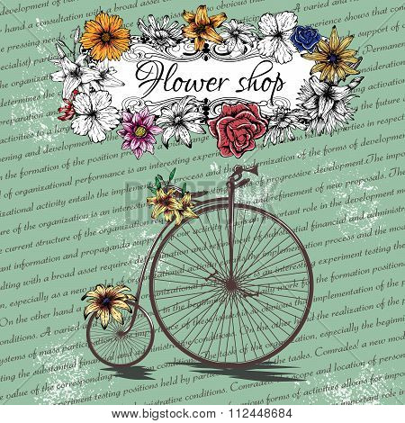 Vintage poster for flower shop design with old bicycle