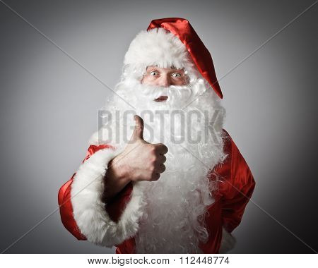 Santa Claus And Sign Of Approval.