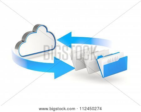 Blue Cloud Drive Icon With Folders