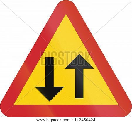 Road Sign Used In Sweden - Two-way Traffic (one-way Traffic Is Ending)