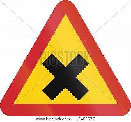 Road Sign Used In Sweden - Junction