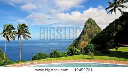 Pool, Palm Trees And Piton