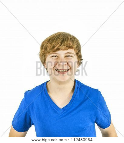 Handsome Teenage Boy With Blue Shirt