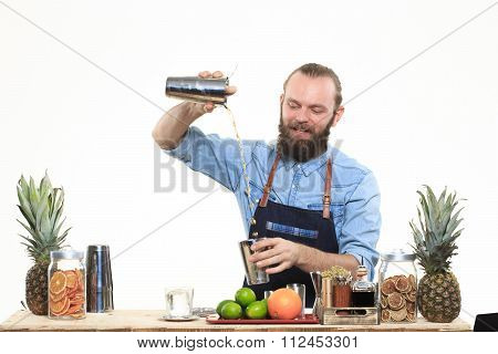 bartender with a shaker and bottle on white background. behind the bar