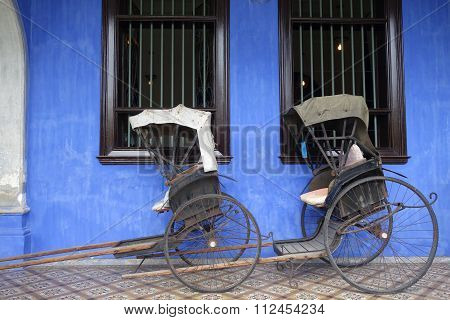 Old Rickshaw Tricycle Near Fatt Tze Mansion Or Blue Mansion, Penang, Malaysia