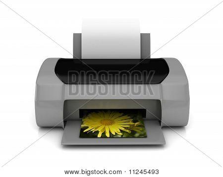 3D Grey Printer Over White