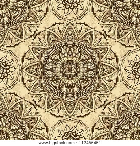 Vector Seamless Texture With Floral Mandala In Indian Style. Mehndi Ornamental Flowers