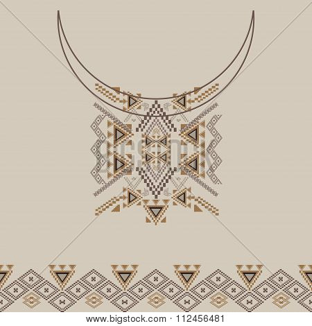Neckline Design With Border In Ethnic Style For Fashion. Aztec Neck Print