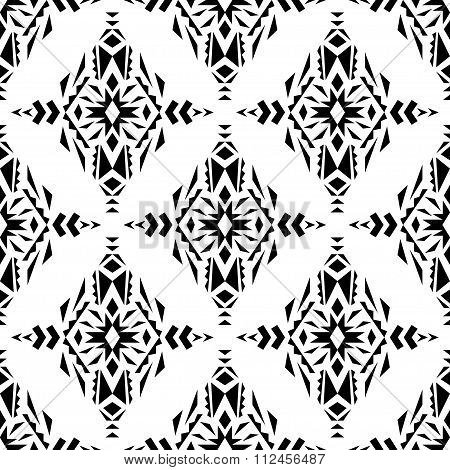 Vector Seamless Texture. Ethnic Black And White Pattern