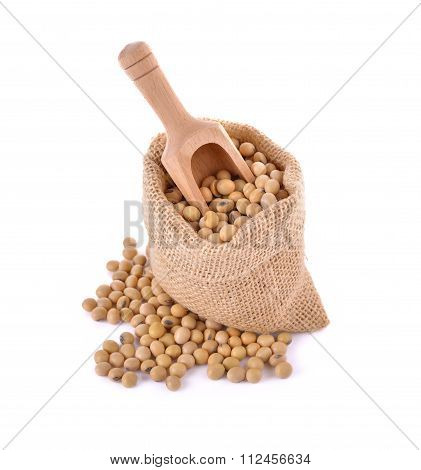 Dried Soybean In Sack And Spoon On White Background