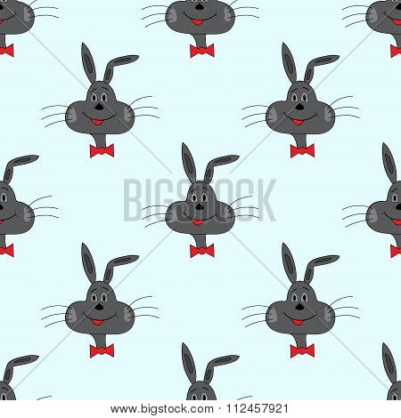 Rabbit On A Blue Background Vector Illustration Seamless Pattern