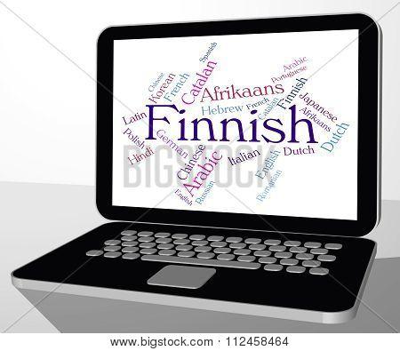 Finnish Language Indicates Translator Finland And Wordcloud