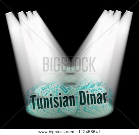 Tunisian Dinar Indicates Exchange Rate And Banknotes