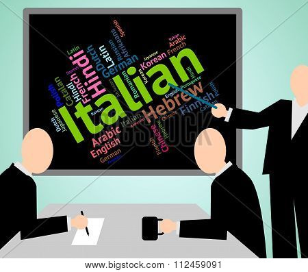Italian Language Shows Foreign Translate And Vocabulary